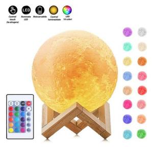 Lampa Luna 3D, Multicolora cu Telecomanda si Suport Lemn, 12 CM0