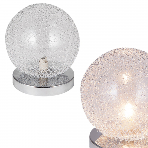 [lux.pro]® Veioza design Sphera, 16 x 14 cm, 1 x G9, max. 28W, aluminiu/sticla, crom argintiu1