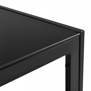 Set mobilier gradina, masa, 2 scaune, canapea, metal/sticla/poliester, negru/gri inchis [2]