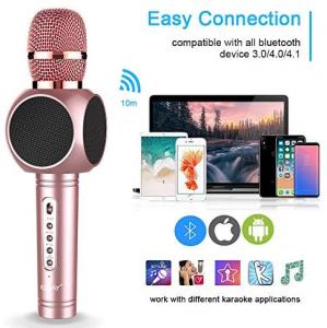 Microfon Wireless Profesional Karaoke Cu Difuzor Bluetooth, Roz4