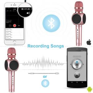 Microfon Wireless Profesional Karaoke Cu Difuzor Bluetooth, Roz5
