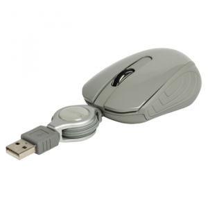 Mouse optic mini Amsterdam pe USB cu cablu retractabil gri, Sweex0