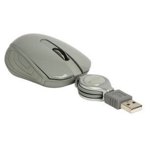 Mouse optic mini Amsterdam pe USB cu cablu retractabil gri, Sweex2