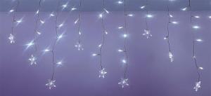 Perdea luminoasa tip turturi cu stele 100 LED-uri albe lumina rece cablu transparent WELL0