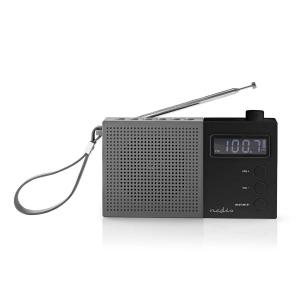 Radio FM cu ceas si alarma 2.1 W gri/negru Nedis0
