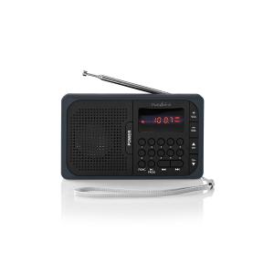 Radio portabil FM port USB si microSD 3.6W negru/gri, Nedis0