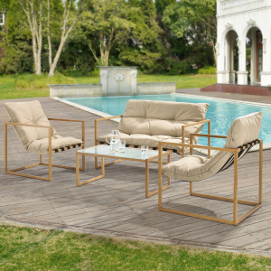 Set mobilier gradina Dallas, masa 40 x 91 x 50 cm, banca 65 x 125 x 75 cm, fotoliu 65 x 64 x 75cm, otel/textil, bej [casa.pro]®1