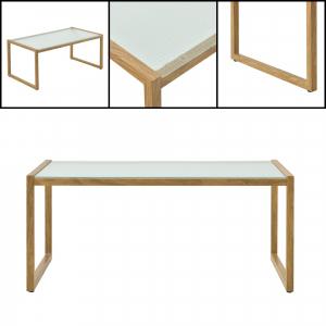 Set mobilier gradina Dallas, masa 40 x 91 x 50 cm, banca 65 x 125 x 75 cm, fotoliu 65 x 64 x 75cm, otel/textil, bej [casa.pro]®2