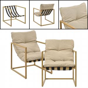 Set mobilier gradina Dallas, masa 40 x 91 x 50 cm, banca 65 x 125 x 75 cm, fotoliu 65 x 64 x 75cm, otel/textil, bej [casa.pro]®4