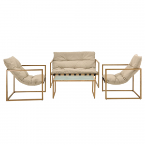 Set mobilier gradina Dallas, masa 40 x 91 x 50 cm, banca 65 x 125 x 75 cm, fotoliu 65 x 64 x 75cm, otel/textil, bej [casa.pro]®3