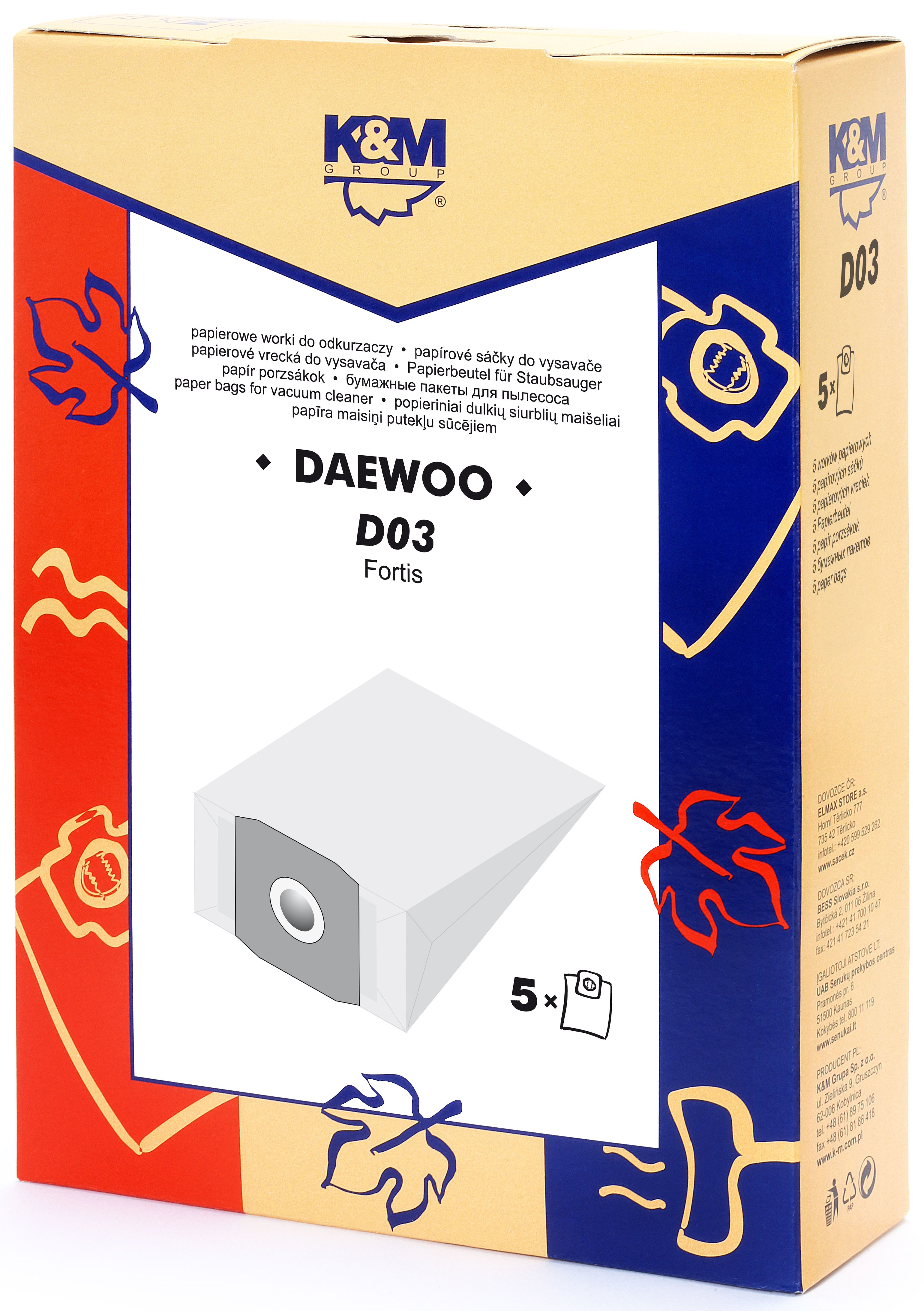 Sac aspirator Daewoo RC300, hartie, 5X saci, K&M 0