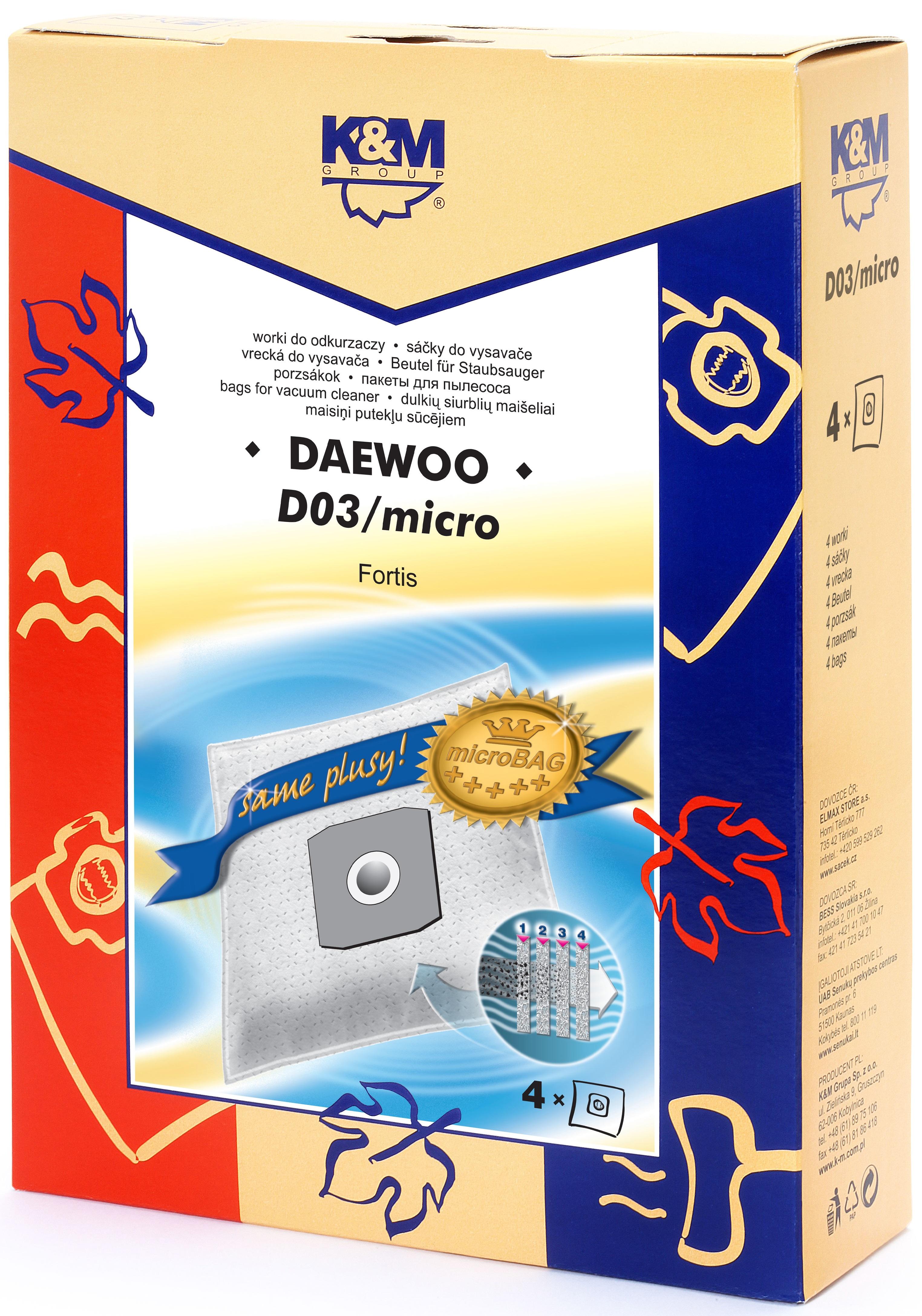 Sac aspirator Daewoo RC300, sintetic, 4X saci, K&M 0