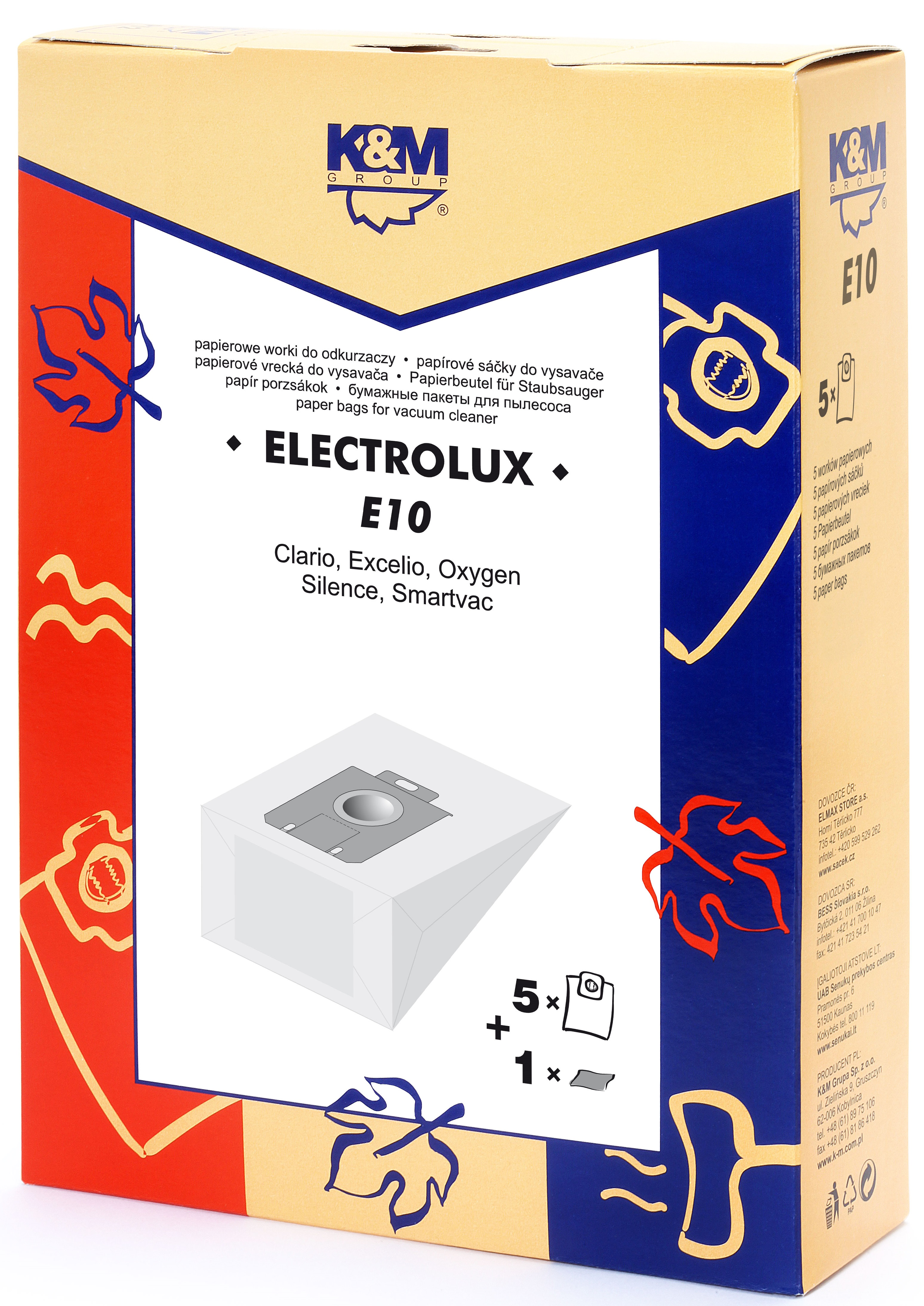 Sac aspirator Electrolux Clario, hartie, 5X saci + 1 filtru, K&M 0