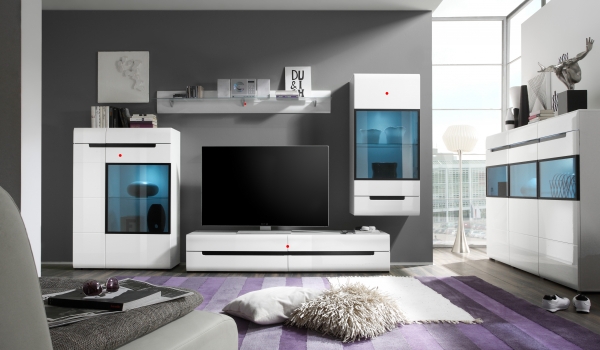 Set mobilier living alb lucios Barker II, 4 piese, iluminare LED [0]