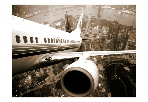 Fototapet - Airplane taking off from the city [3]