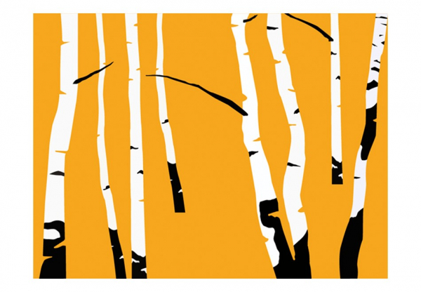 Fototapet - Birches on the orange background 3