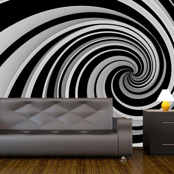 Fototapet - Black and white swirl 0