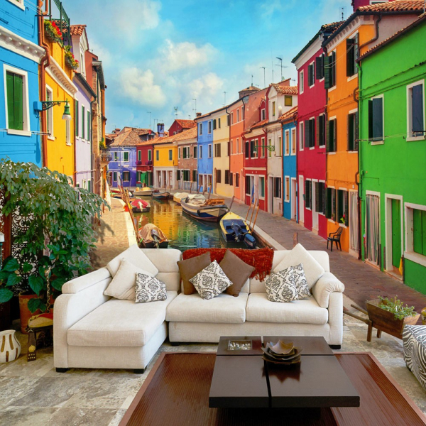 Fototapet -  Colorful Canal in Burano 0