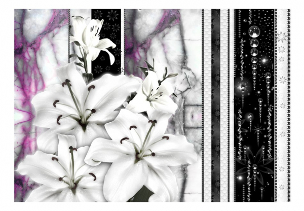 Fototapet - Crying lilies on purple marble 3