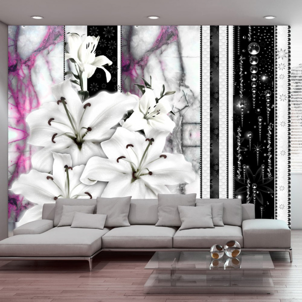 Fototapet - Crying lilies on purple marble 0