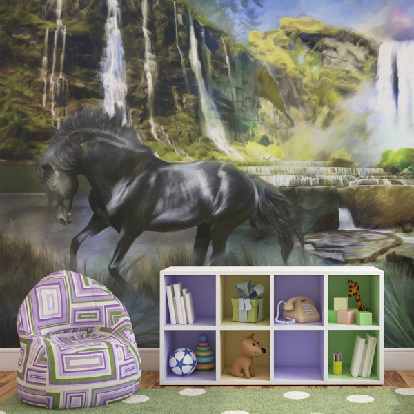 Fototapet - Horse on the background of sky-blue waterfall 0