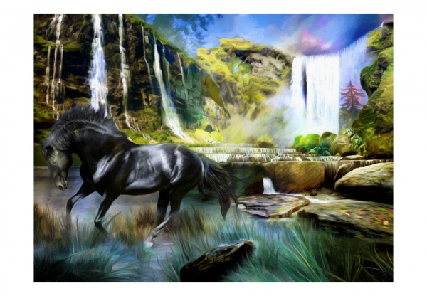 Fototapet - Horse on the background of sky-blue waterfall 3