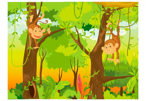 Fototapet - jungle - monkeys 3