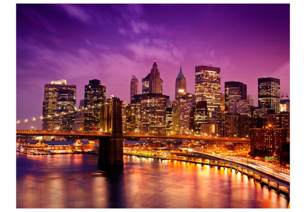 Fototapet - Manhattan and Brooklyn Bridge by night 3