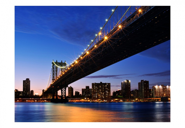 Fototapet - Manhattan Bridge illuminated at night 3