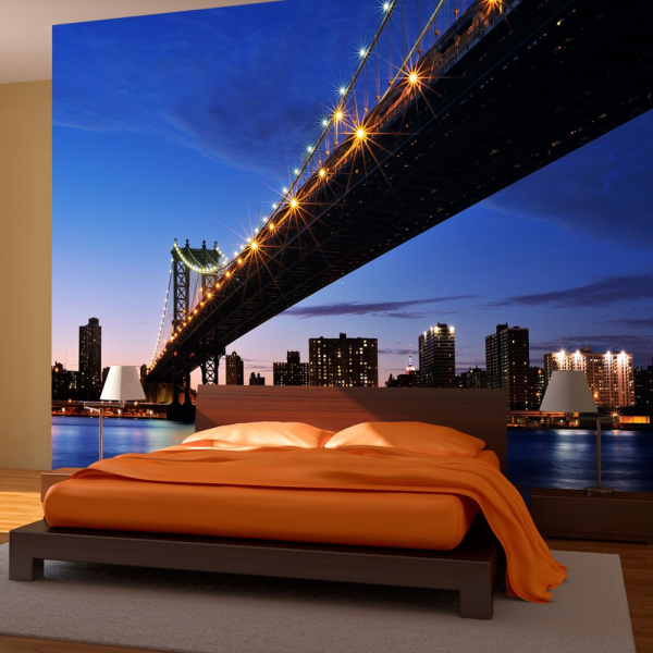 Fototapet - Manhattan Bridge illuminated at night 0