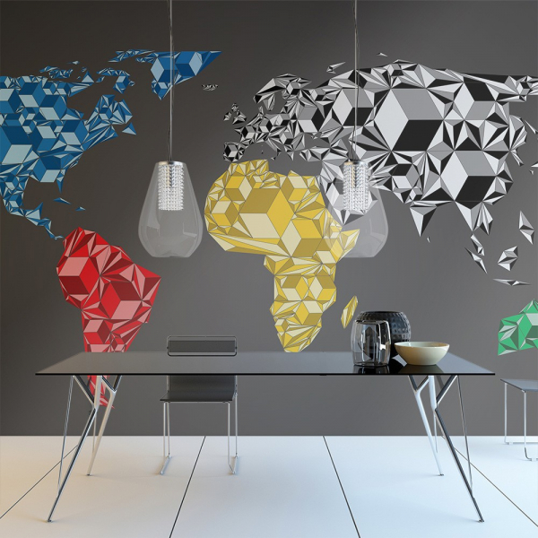 Fototapet - Map of the World - colorful solids 0