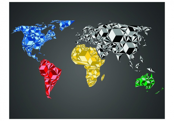 Fototapet - Map of the World - colorful solids 3