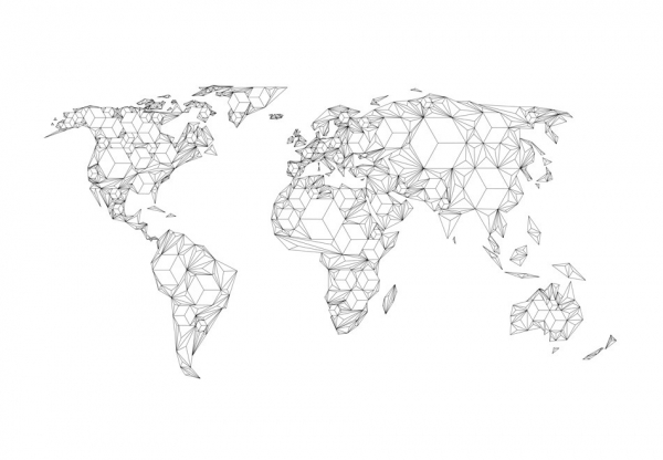 Fototapet - Map of the World - white solids [3]