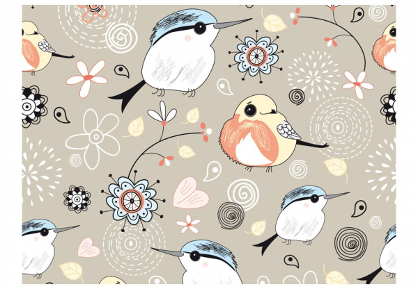 Fototapet - Natural pattern with birds 3