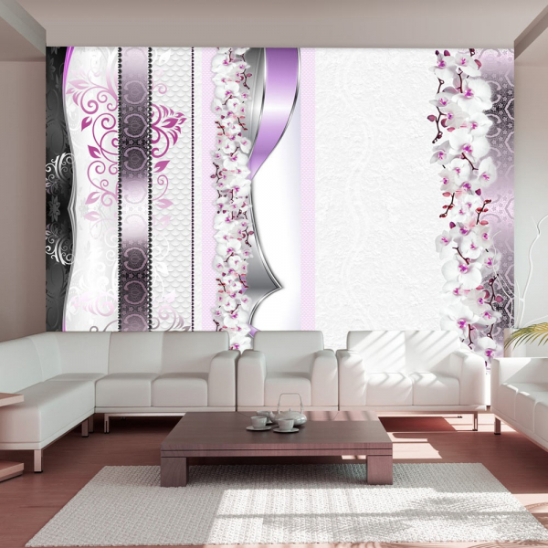Fototapet - Parade of orchids in violet 0