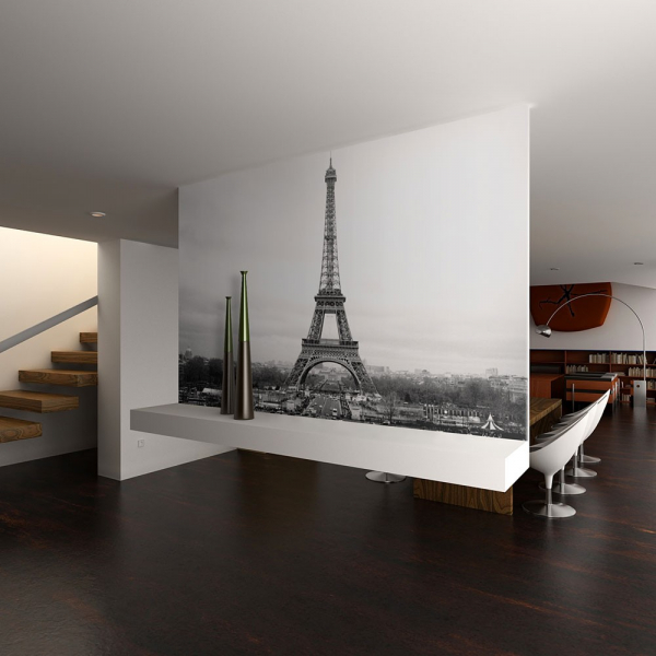 Fototapet - Paris: black and white photography 0