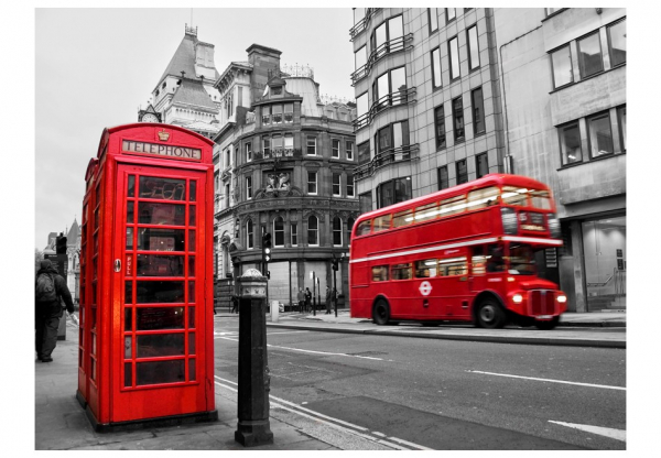 Fototapet - Red bus and phone box in London 3