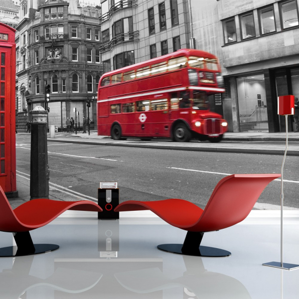 Fototapet - Red bus and phone box in London 0