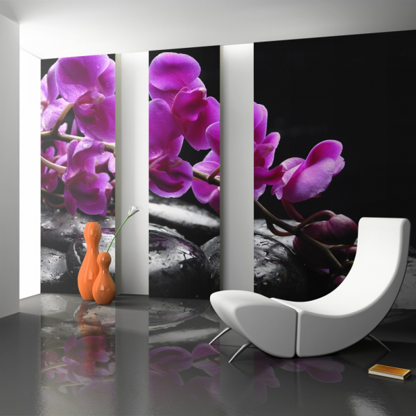 Fototapet - Relaxing moment: orchid flower and stones 0