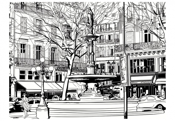 Fototapet - Sketch of parisian fountain 3