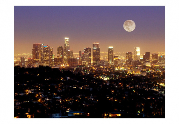 Fototapet - The moon over the City of Angels 3