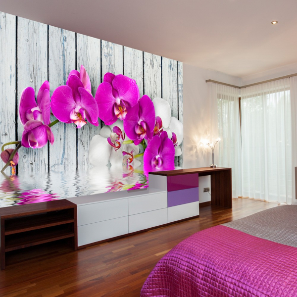 Fototapet - Violet orchids with water reflexion [0]