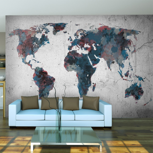 Fototapet - World map on the wall 0