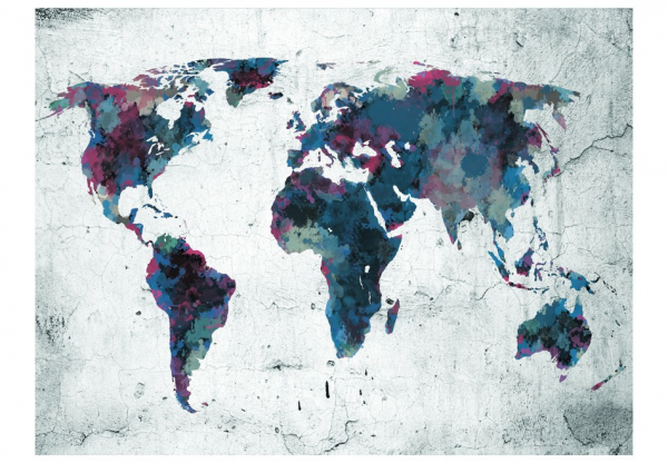 Fototapet - World map on the wall 3