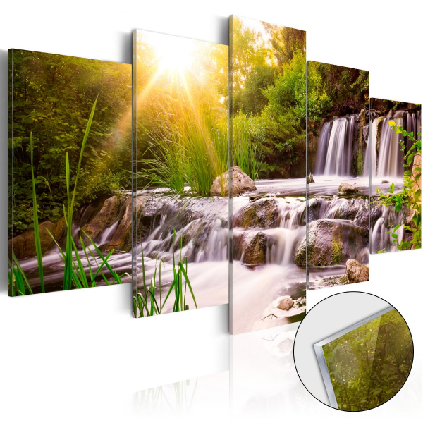 Imagine pe sticlă acrilică - Forest Waterfall [Glass] 0