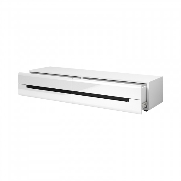 Set mobilier living alb lucios Barker II, 4 piese, iluminare LED [2]