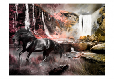 Fototapet - Black horse by a waterfall3