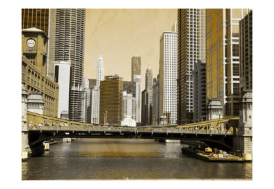 Fototapet - Chicago's bridge (vintage effect)3