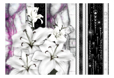 Fototapet - Crying lilies on purple marble3