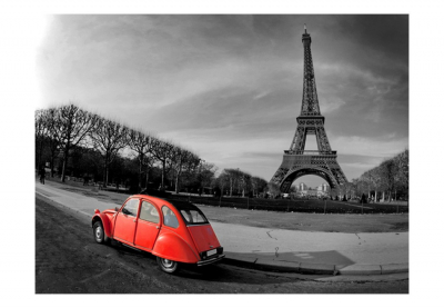 Fototapet - Eiffel Tower and red car3